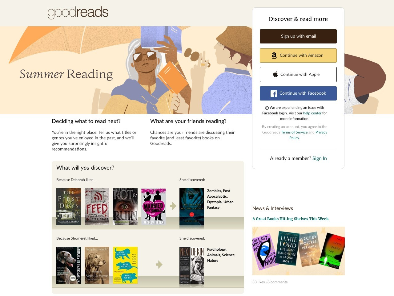 Goodreads — Share book recommendations with your friends, join book clubs, answer trivia
